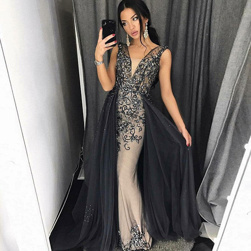 Unqiue Applique Tulle Sexy Cheap Eelegant Long Evening Prom Dress, WG1127