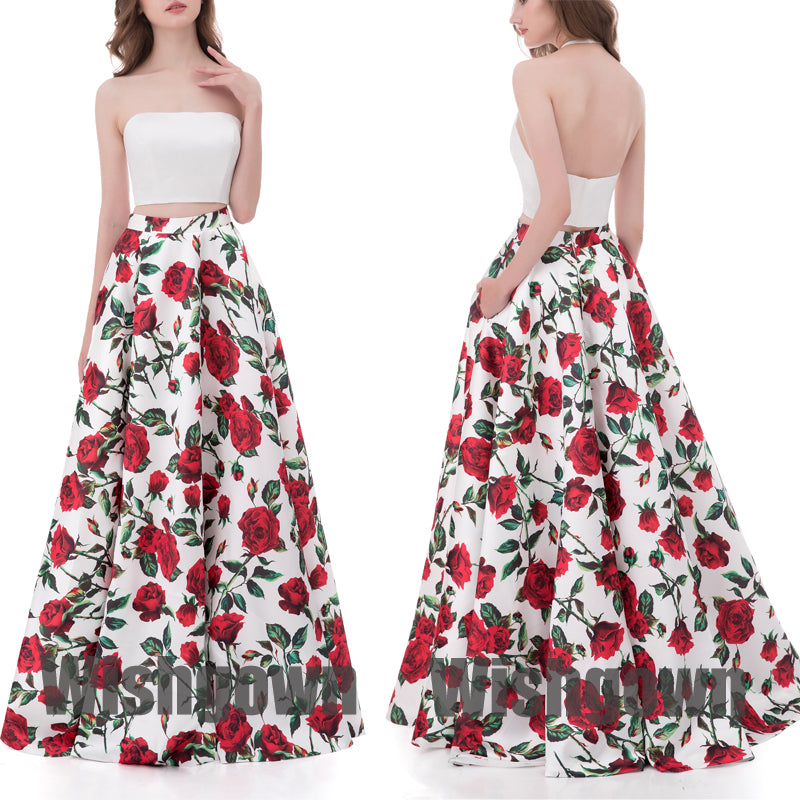 2 Pieces Elegant Unique Flowers Cheap Long Evening Prom Dresses, WG1057 - Wish Gown