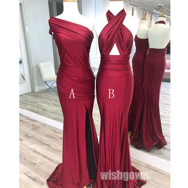 Mermaid Sexy Halter Open Back Wedding Party Long Bridesmaid Dresses, MD1104