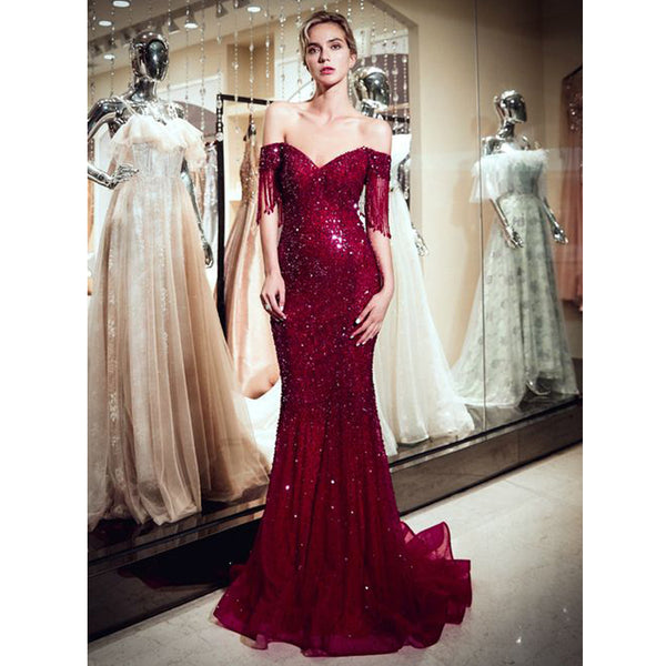 Off The Shoulder Mermaid Sparkle Burgundy Evening Prom