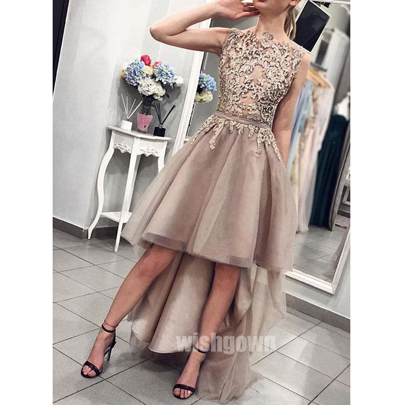 Popular High Low Tulle Applique Long Prom Dresses, MD1121