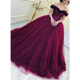 Off the Shoulder Popular Inexpensive Ball Gown Long Evening Prom Dresses, SG103