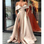 Off the Shoulder Simple A Line Cheap Side Slit Long Prom Dresses, SG158
