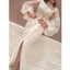 Long Sleeves High Neck Side Slit Ivory Mermaid Prom Dresses, SG143