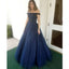 Off the Shoulder Tulle Beaded Open Back Long Prom Dresses, SG125