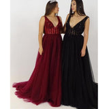 A Line V Neck Beaded Top Tulle Long Prom Bridesmaid Dresses, SG124