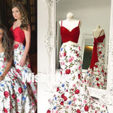2 Pieces Flowers Spaghetti Strap Mermaid Cheap Long Evening Prom Dresses, WG1066 - Wish Gown