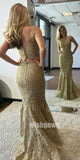 Two Pieces Lace Mermaid Elegant Affordable Evening Long Prom Dresses, WG1123