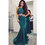 Two Pieces Halter Mermaid Sexy Teal Long Prom Dresses, SG115