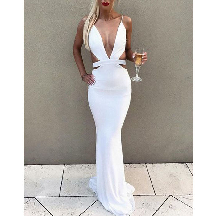 Sexy Deep V Neck Mermaid Cheap Long Prom Dresses, SG117