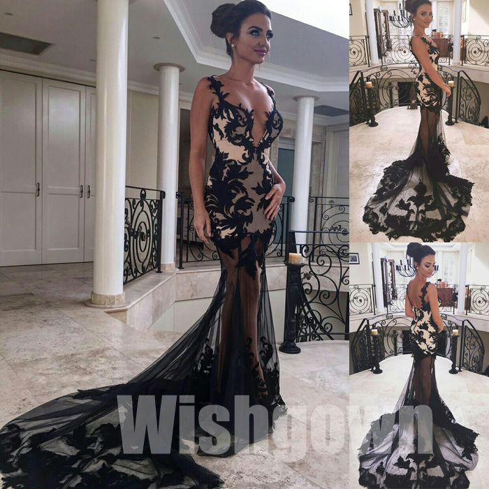 Black Seen Through Sexy Spaghetti Strap Lace Mermaid Long Prom Dresses, WG1073