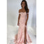 Pink Lace Off the Shoulder Sweetheart Side Slit Long Prom Dresses, SG116