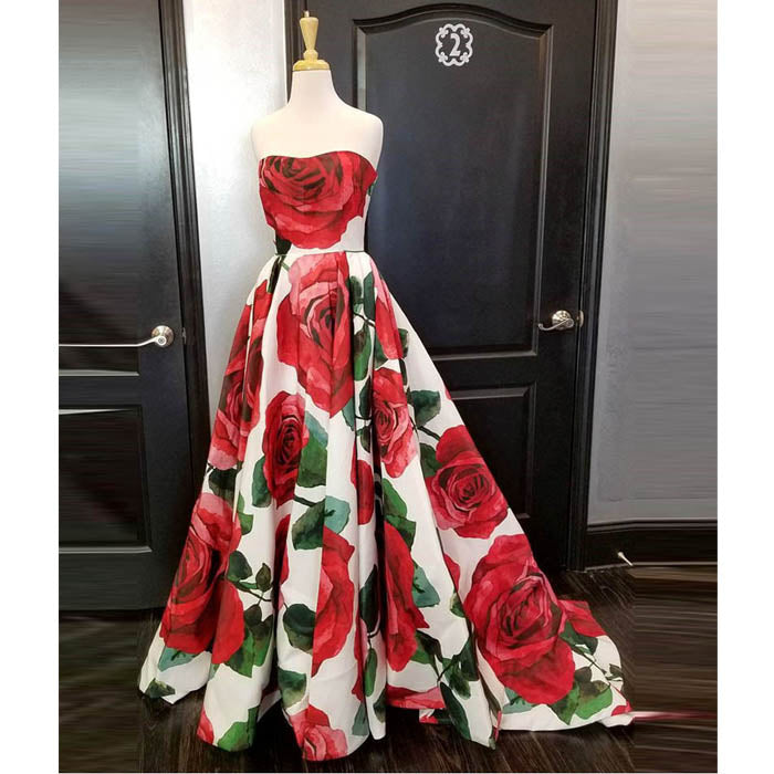 Formal A Line Satin Flowers Cheap Long Prom Dresses, SG135