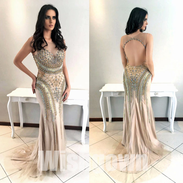 Unique Mermaid Open Back Beaded Sexy Long Prom Dresses, WG1078