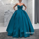 Simple Elegant Sweetheart Satin Long Prom Ball Gown Dresses, MD1136