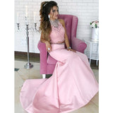 Charming Two Pieces Pink Mermaid Affordable Popular Long Evening Prom Dresses, WG1108 - Wish Gown