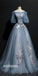 Half Sleeves Lace Up Back Off the Shoulder Long Prom Dresses, SG107