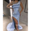 One Shoulder Long Sleeve Side Split Blue Long Prom Dresses PG1171