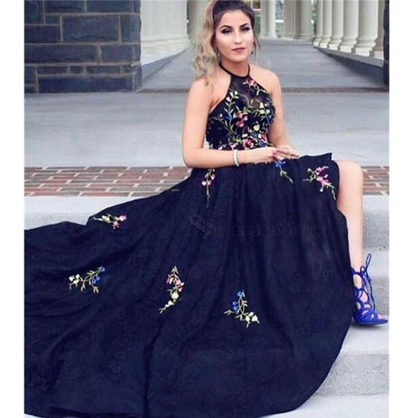 Halter Navy Formal A Line Cheap Long Prom Dresses, SG113