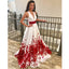A Line V Neck Sleeveless Red Applique Long Prom Dresses, SG127