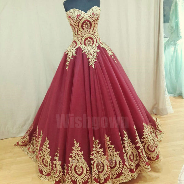 Charming Sweetheart Elegant Tulle Applique Cheap Long Prom Dresses, WG1054 - Wish Gown