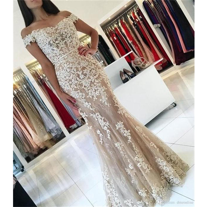 Affordable Off the Shoulder Tulle Applique Mermaid Long Prom Dresses, WG1032 - Wish Gown