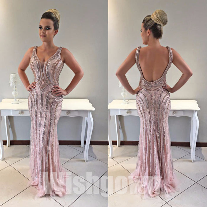Pink Mermaid Open Back Beaded Inexpensive Evening Long Prom Dresses, WG1080