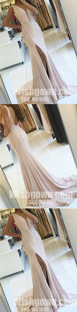 Sexy Mermaid Cheap Side Split Backless Deep V Neck Long Prom Dresses, WG1091