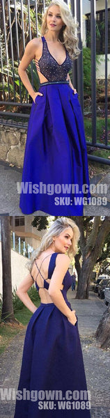 Open Back Sexy Royal Blue Beaded Unique Cheap Long Prom Dresses, WG1089