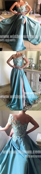 Popular One Shoulder Side Split Elegant Cheap Long Prom Dresses, WG1099