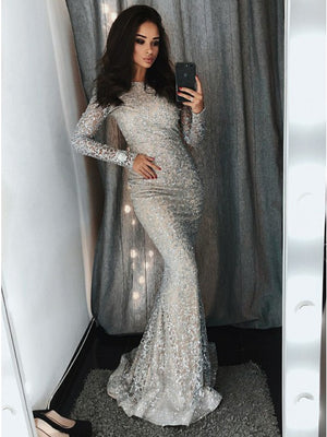 Sparkle Long Sleeves Mermaid Popular Evening Long Prom Dress, PD0136