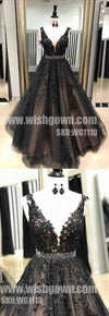 Most Popular Black Applique Formal Long Evening Prom Dresses, WG1110