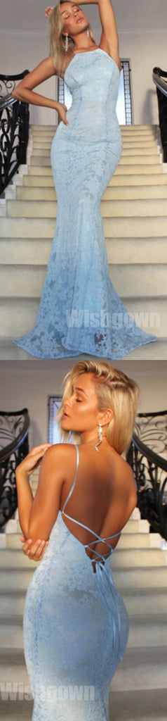 Blue Sexy Mermaid Lace Open Back Cheap Long Prom Dresses, WG1065 - Wish Gown