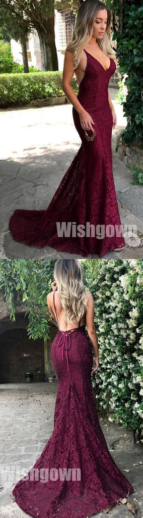 Sexy Mermaid Lace Open Back Online Cheap Long Prom Dresses, WG1053