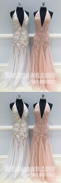 Charming Applique Tulle Hater Mermaid Deep V Neck Long Prom Dresses, WG1092 - Wish Gown