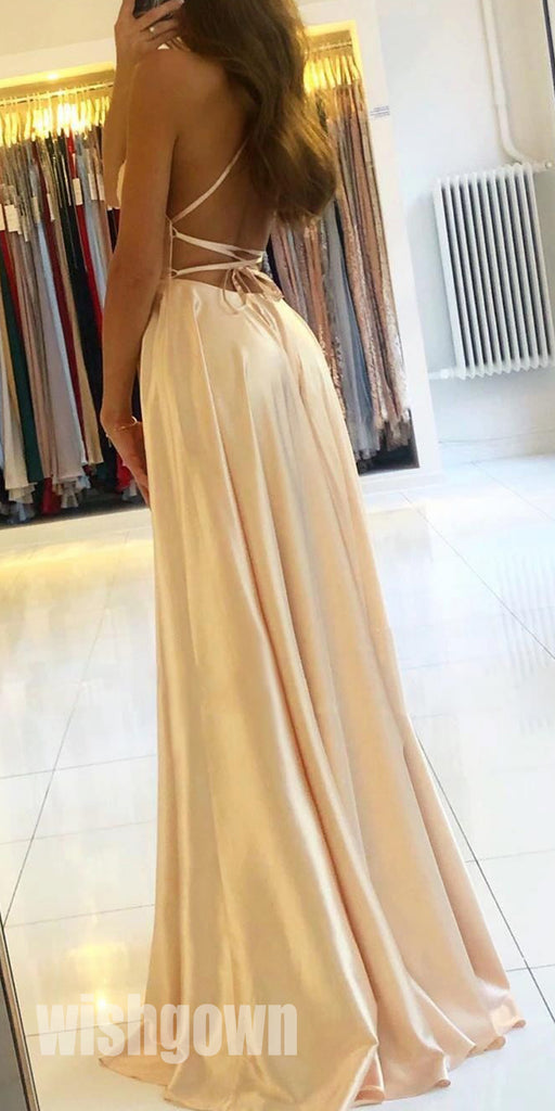 Open Back A-line Side Split Long Prom Dresses PG1176