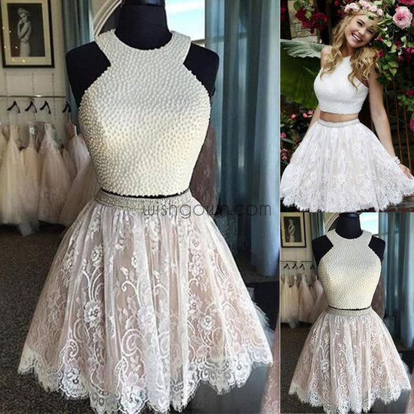 69683d09442 Sexy Two Pieces Halter Lace skirt Pearls bodice Cute homecoming prom d –  Wish Gown