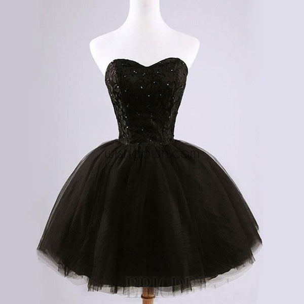 Formal lace little black dress, short homecoming prom dresses, CM0024