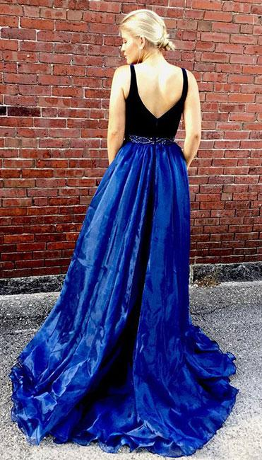 Royal Blue Sexy Long Side Slit Cheap Formal Long Prom Dresses, PD0049