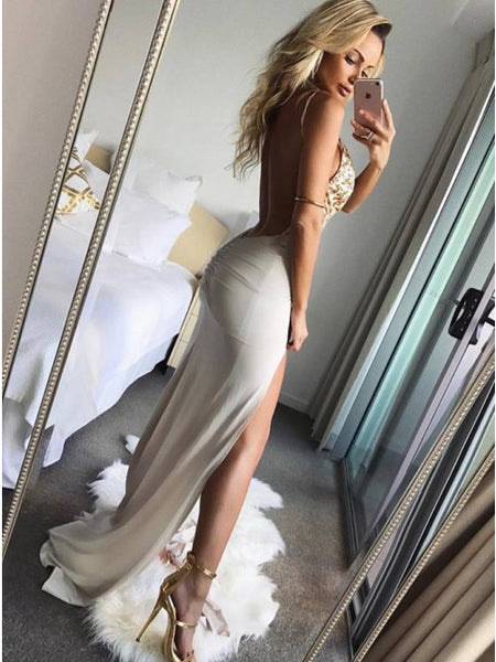 Sexy Open Back Slit Pretty Beaded Cheap Long Prom Dress, WG539