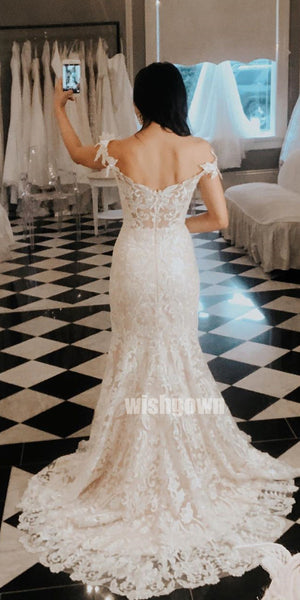 Sexy V-neck Mermaid Lace Applique Long Wedding Dresses YH1130