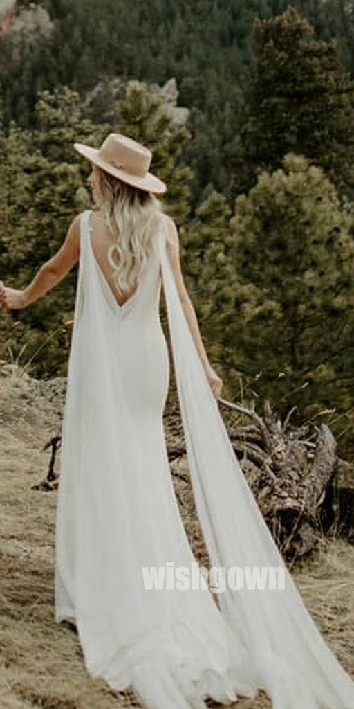 Unique V-Back Sleeveless Mermaid  Long Wedding Dresses WDH003