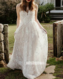 Elegant Open Back Spaghetti Strap Applique Long Wedding Dresses WDH004