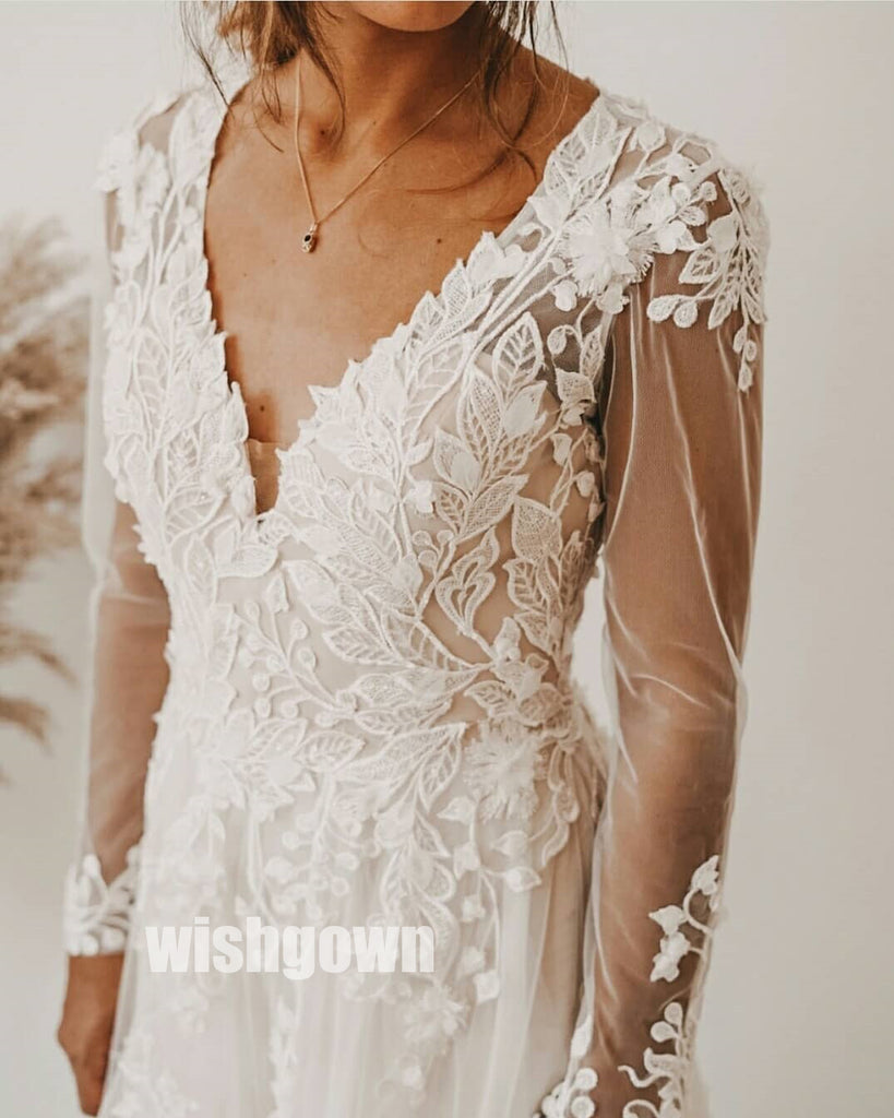 Elegant V-neck Long Sleeves  Applique Lace Long Wedding Dresses WDH005
