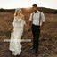 Elegant V-neck  Spaghetti Strap Lace Long Wedding Dresses WDH006