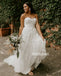 White Sweetheart Strapless Applique Tulle Long Wedding Dresses WDH007