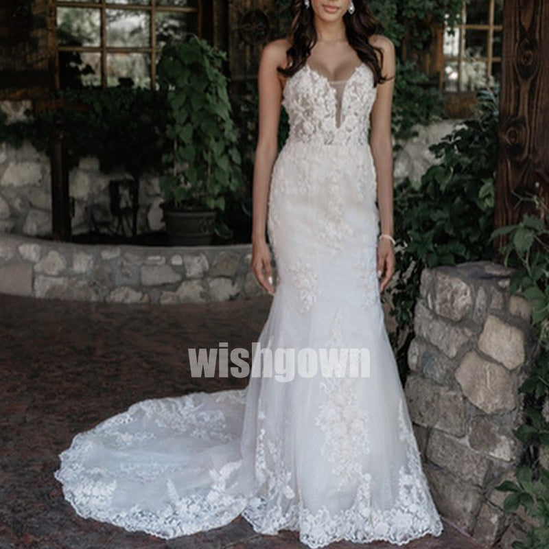 Sexy Open Back Mermaid Lace Long Wedding Dresses WDH011