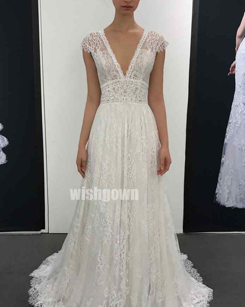 A-line Short Sleeve V-neck Lace Long Wedding Dresses WDH013