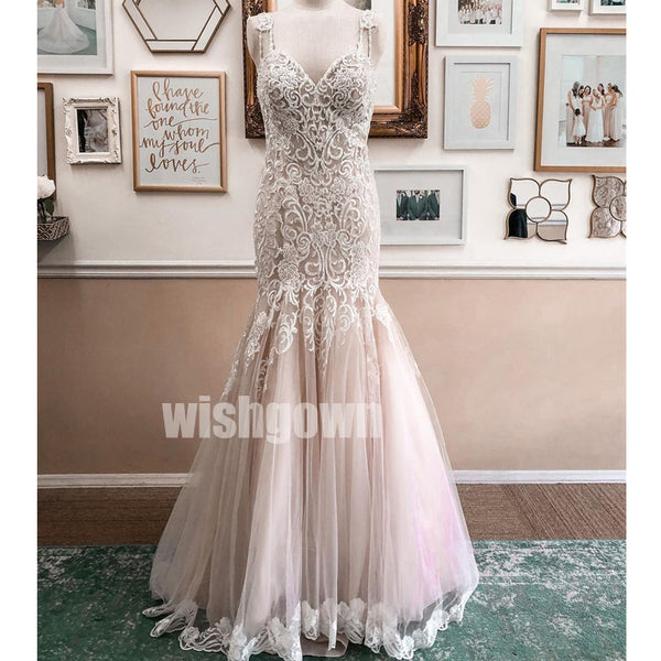 Gorgeous Spaghetti Strap Mermaid Tulle Long Wedding Dresses WDH015