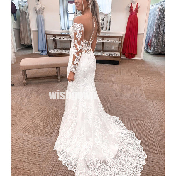Elegant Illusion Mermaid Lace Long Bridal Dresses WDH016